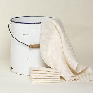 Putztücher-Set, Bodentuch + 6 Putzlappen aus Halbleinen Waffelpiquée - nahtur-design