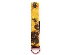 Leesha WILDe Upcycling Schlüsselband Braun-Orange aus Stoff - Leesha