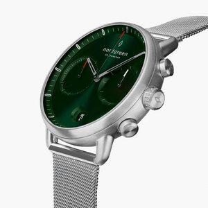 Chronograph Pioneer Silber | Green Sunray Ziffernblatt - Mesharmband - Nordgreen Copenhagen