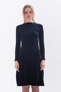 Winterkleid JU-DY mit kleinem Stehkragen und Schlitzen aus Bio Baumwolle - Studio Hertzberg