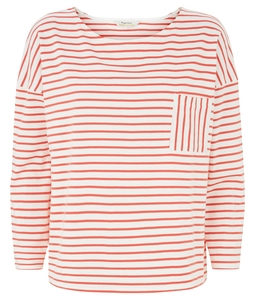 Elba Stripe Top Coral - Streifenshirt von People Tree - People Tree