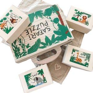 Kinder-Puzzle-Set mit 4 Dschungel Motiven á 100 Teilen - Fines Papeterie