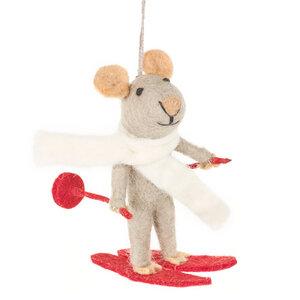 Ski-Maus Weihnachtsanhänger aus Filz - Just Be