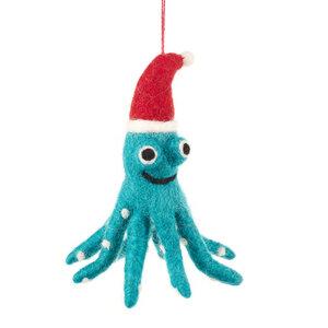 Oktopus Weihnachtsanhänger aus Filz - Just Be