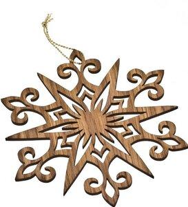 Weihnachtsschmuck – Stern – Ø 17cm - Eichenholz - Goldkordel - ReineNatur