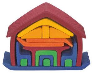 Spielhaus aus Holz, rot/blau - Glückskäfer