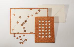 Holzgrußkarte 24 Sternchen - Formes