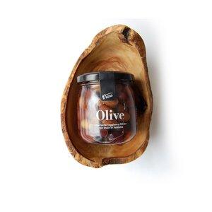 2tlg. Set OLIVE: Ligurische Oliven mit Knabberschale (L16cm) - Olivenholz erleben