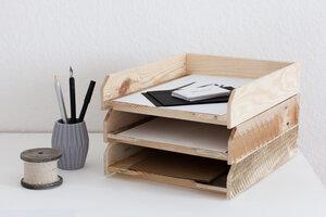 Briefablage 3er Set- Ablagesystem für Papier (A4) - Tischlermeister Volker Frings