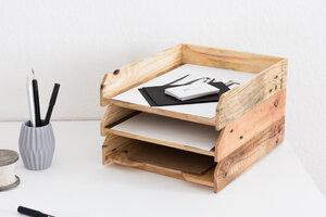 Briefablage geölt 3er Set- Ablagesystem für Papier (A4) - Tischlermeister Volker Frings