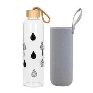 Glasflasche 1 Liter Bamboo Trinkflasche Borosilikatglas mit Neoprentasche - Uakeii.