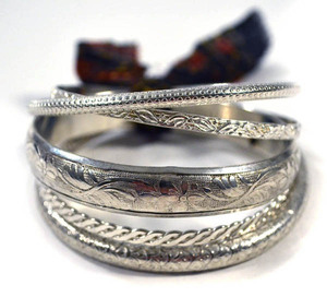 All Around Bangles (5er Set) - Silver - Kalakosh