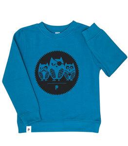 Die Eulen 3er Gang - Kinder Bio Sweater - Organic Cotton - Blau - päfjes