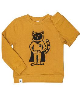 Karlo Superhelden Kater - Kinder Bio Sweater - Organic Cotton - Gelb - päfjes