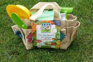 Bio Gartenset für junge Entdecker in der Jutetasche - ARIES