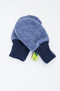 Baby-Handschuhe aus weichem Bio-Baumwoll-Fleece, Schlupfmütze, blau oder grün, vegan - MIRRORMONKEY