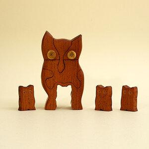 3D Holzpuzzle - Eule mit 3 jungen Eulen - Ecowoods