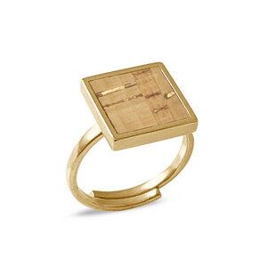 Square Ring Gold mit Kork | Verstellbarer Ring Quadrat 18k vergoldet - KAALEE jewelry