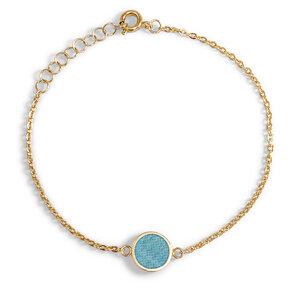 Armkettchen Gold mit buntem Kork | 18k Vergoldet | Anhänger Rund - KAALEE jewelry