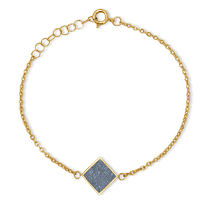 Armkettchen Gold mit buntem Kork   18k Vergoldet   Anhänger Quadrat - KAALEE jewelry