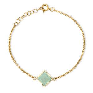 Armkettchen Gold mit buntem Kork | 18k Vergoldet | Anhänger Quadrat - KAALEE jewelry