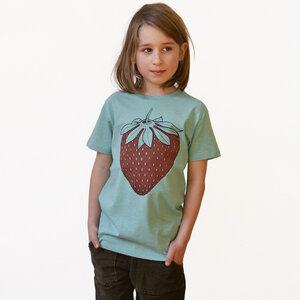 Kinder T-Shirt Erdbeere grün-meliert - Cmig
