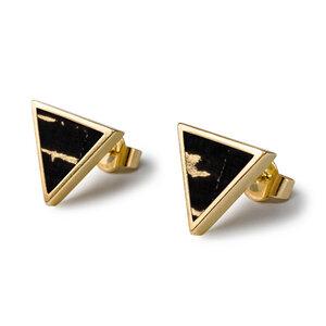 Dreieck Ohrringe Gold Kork | Triangle Ohrstecker Holz | Geschenk Box - KAALEE jewelry