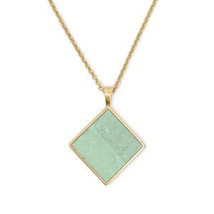 Halskette Gold mit Kork | Square Anhänger Quadrat | Geschenk Box - KAALEE jewelry