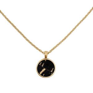 Kurze Halskette Gold mit Kork | 18k Vergoldet | Kettenanhänger Rund - KAALEE jewelry