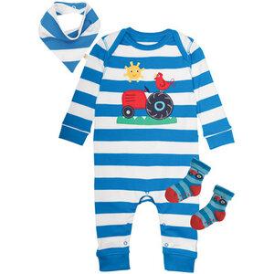 Geschenk-Set blau-weiß mit Traktor - Frugi