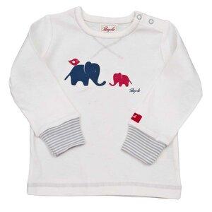 Langarmshirt weiß mit Elefanten Print - People Wear Organic