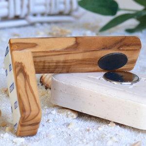 Magnetseifenhalter 9 cm inkl. Seifenplättchen aus Olivenholz - Olivenholz erleben