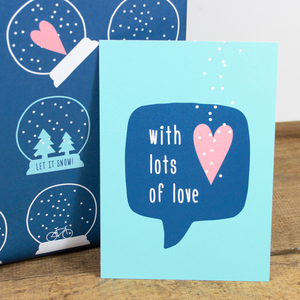 Postkarte With lots of love - Bow & Hummingbird