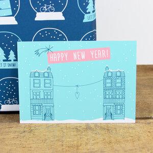 Postkarte Happy New Year - Bow & Hummingbird
