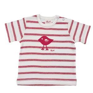 Kurzarmshirt rot mit Vogelprint - People Wear Organic