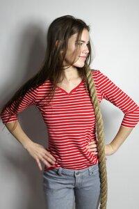 Bio 3/4 Arm- Shirt 'Winda' rot weiße Streifen - Frija Omina