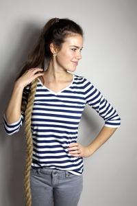 Bio 3/4 Arm- Shirt 'Winda' blau weiße Streifen - Frija Omina