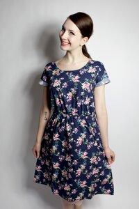 Bio Kleid 'Somrig' Blumenranken blau - Frija Omina