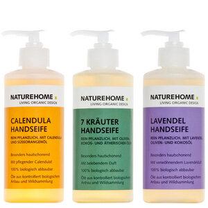 Bio Handseifen 3er Set je 300ml Calendula / 7 Kräuter / Lavendel - NATUREHOME