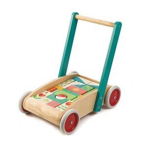 Lauflernwagen mit Holzbausteine ab 18 Monaten - Tender Leaf Toys