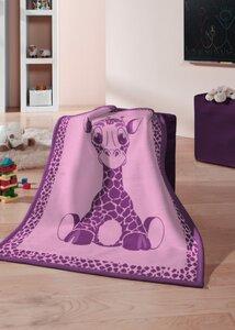 Kinderdecke Kids Cotton  'Giraffe pink' Neu  75 x 100 cm - biederlack