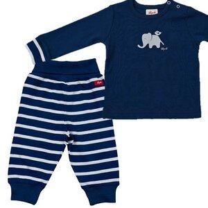 Schlafanzug / Set mit Elefanten - Dunkelblau - People Wear Organic