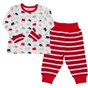Schlafanzug / Set mit Elefanten - Rot - People Wear Organic