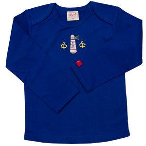 Langarmshirt blau mit Leuchtturm - People Wear Organic