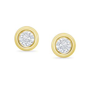 Bezelohrstecker aus Gold mit 0.1ct synthetischen Diamanten Viorica - Eppi