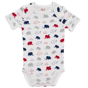 Kurzarmbody weiß mit buntem Elefantenmuster - People Wear Organic