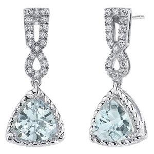 Aquamarin Ohrringe aus Gold mit synthetischen Diamanten Alfie - Eppi