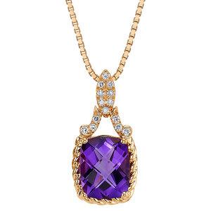 Goldene Kette mit Amethyst und synthetischen Diamanten Oliwia - Eppi