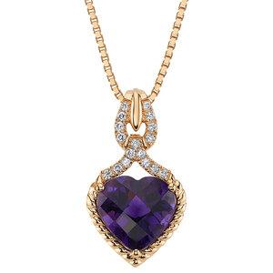 Anhänger in Herzform mit Amethyst und synthetischen Diamanten Edith - Eppi