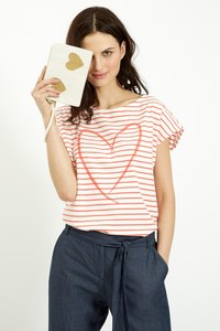 Stripe Heart Tee Coral - People Tree